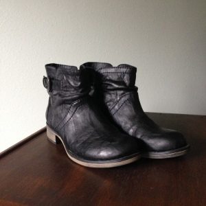 Black moto booties. --Report, gifted from a friend.