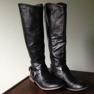 Black Gold Buckle Riding Boots. --Shoedazzle.com Fall 2012