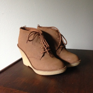 Camel lace up wedges. --Old Navy 2011