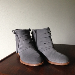 Grey suede booties. --Report Signature, gifted from a friend