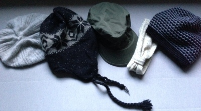 Beanies, cap and a headwrap.