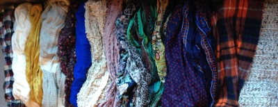 Scarves...knit, silk, chiffon, store bought, handmade by Grandma, you name it, it's here.