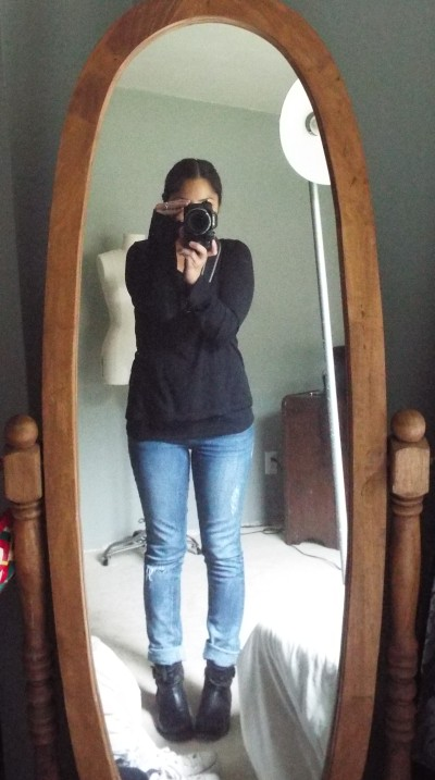 Saturday outfit snap shot...what I wore for running errands. Flat booties a must.